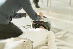 Motorradfahrer-Helm-Detail
